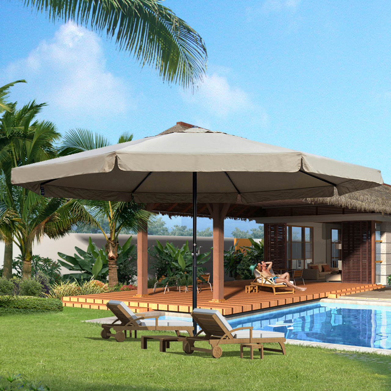 16 feet large market patio umbrella with cross base(tan) Market Patio Umbrella