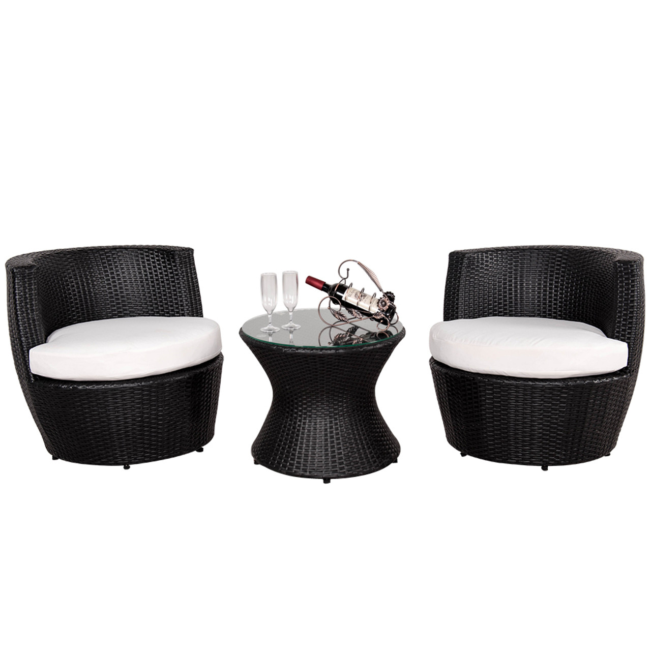 Deluxe 3 Pcs Stacking Patio Furniture Black Wicker Chat Set with Cushions - Deluxe 3 Pcs Stacking Patio Furniture Black Wicker Chat Set With