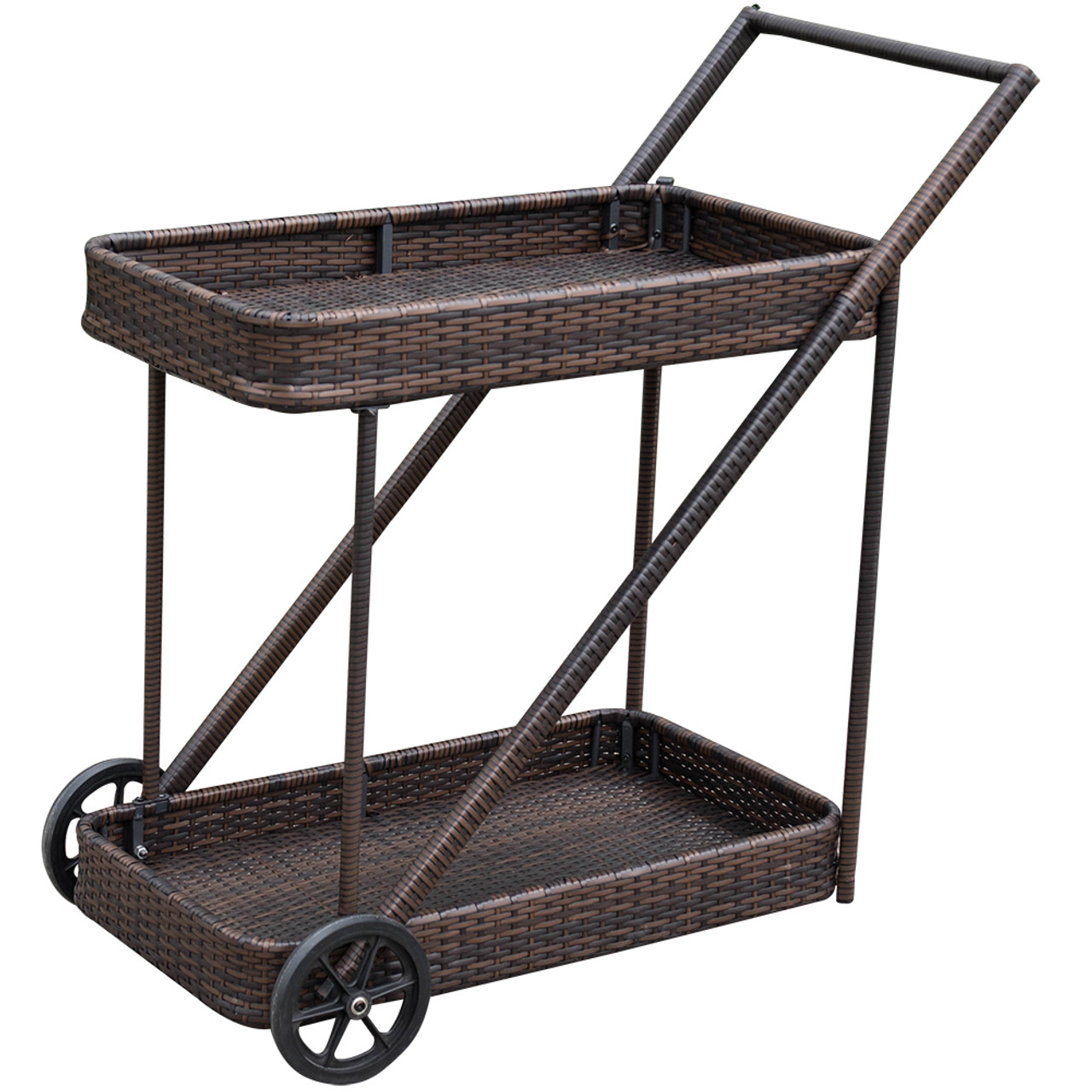 Patio Deluxe Resin Wicker Serving Bar Cart With 2 Wheels For  Party,Picnic,Outdoors