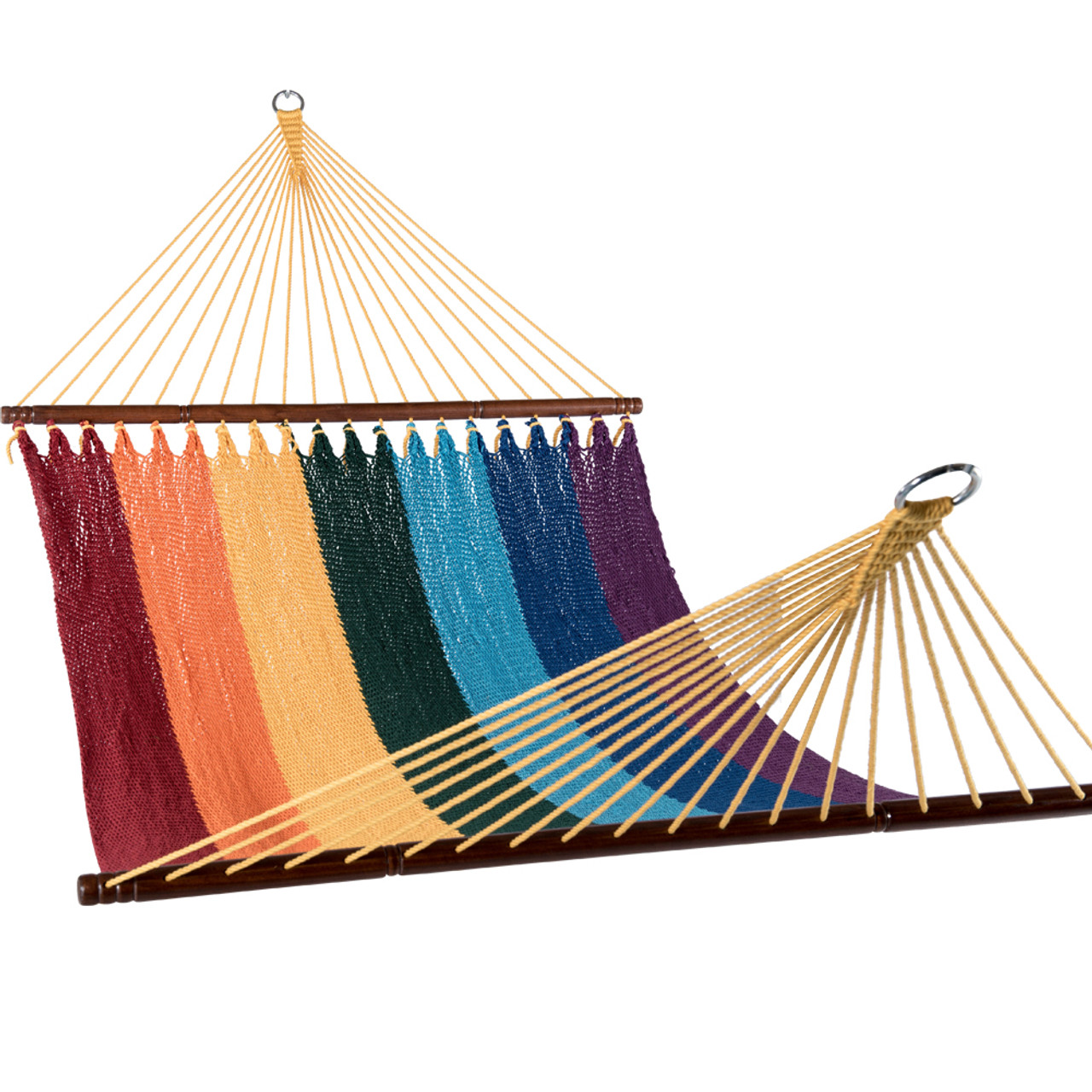 inch lazy caribbean swing blue daze woven sky double hammocks outdoor patio dsc bed rope handmade hand polyester sundale hammock