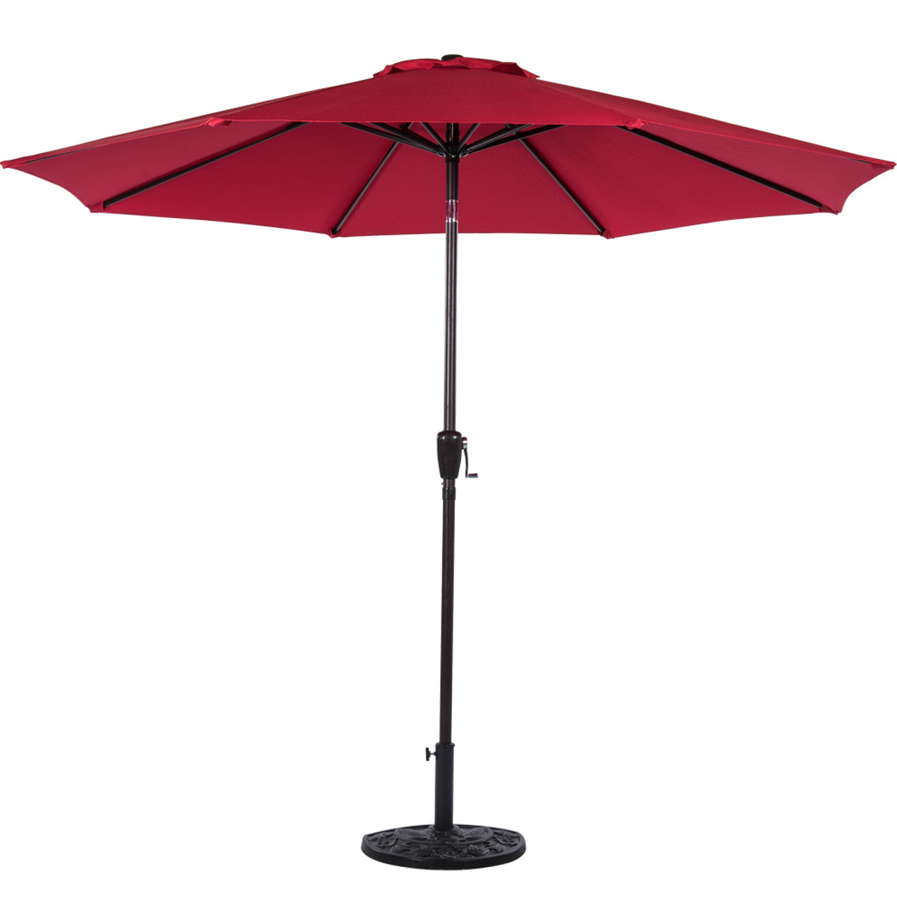 Sundale 9 Feet Polyester Patio Umbrella With Auto Tilt, Crank And 8  Aluminum Ribs, Red