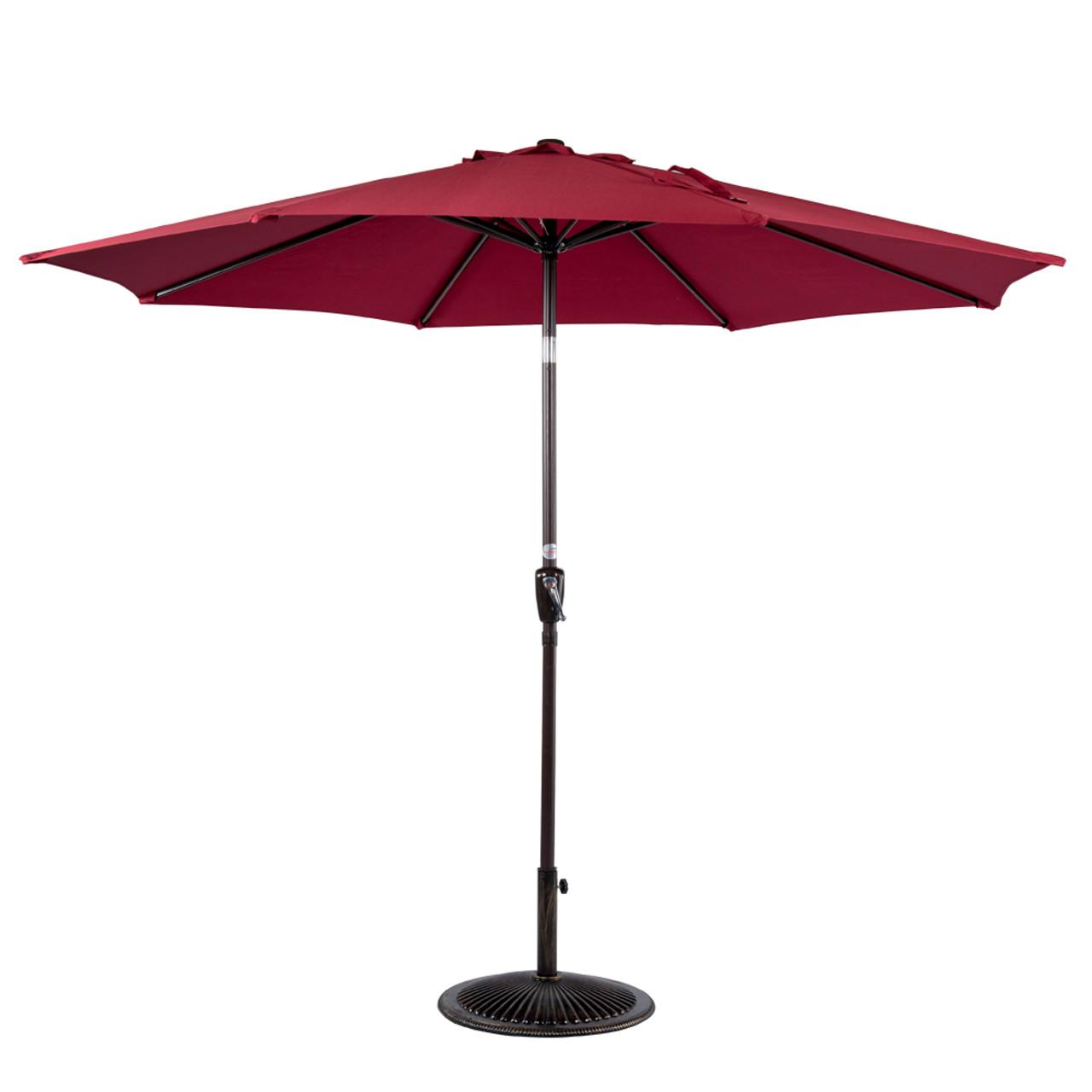 9 Feet Outdoor Aluminum Patio Umbrella With Auto Tilt And Crank(Burgundy)