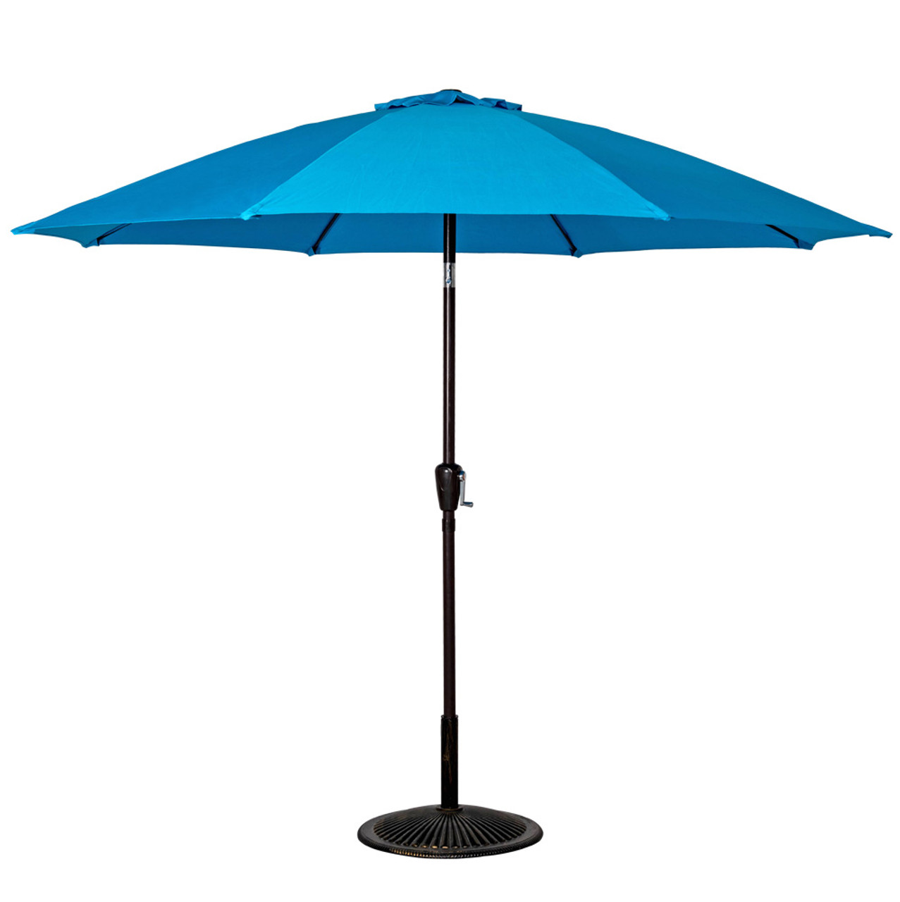 9 Feet Aluminum Patio Umbrella With Crank And Push Button Tilt(Turquoise)