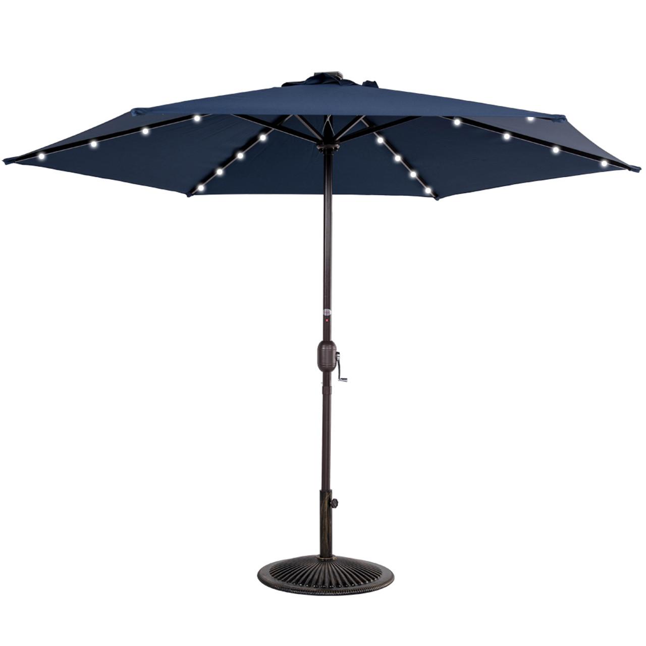 9ft 24 Led Light Outdoor Market Patio Umbrella Garden Pool With Crank, 6  Ribs (Navy Blue)