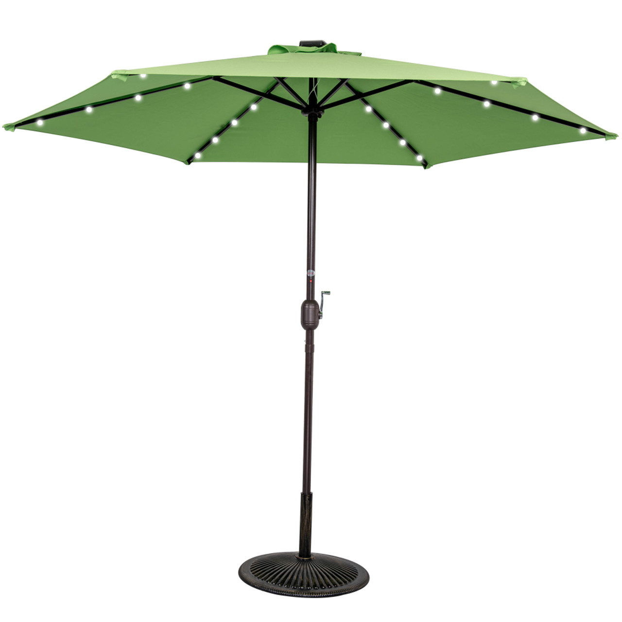 Attirant 9ft 24 Led Light Outdoor Market Patio Umbrella Garden Pool With Crank, 6  Ribs (Lime Green)