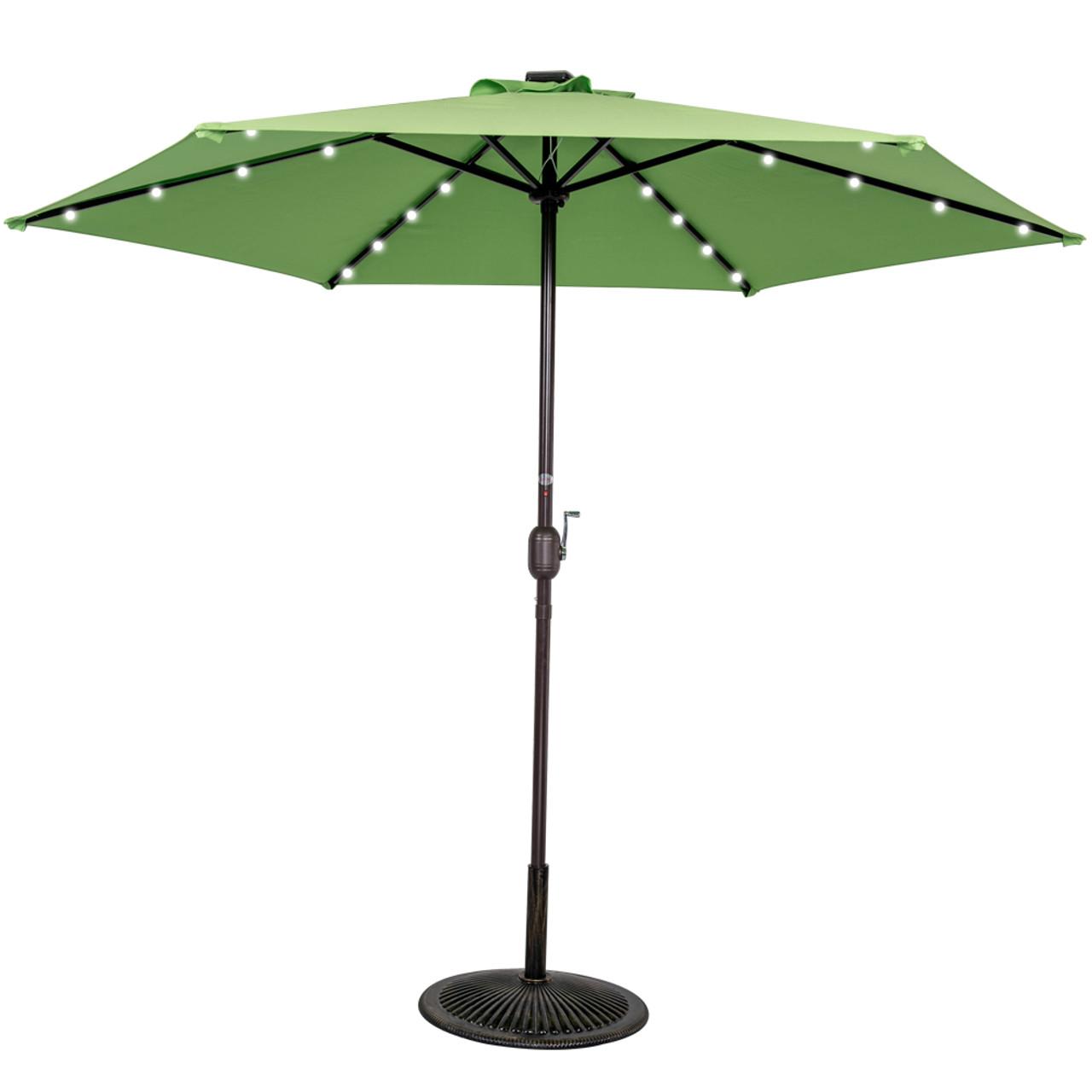 9ft 24 Led Light Outdoor Market Patio Umbrella Garden Pool With Crank, 6  Ribs (Lime Green)