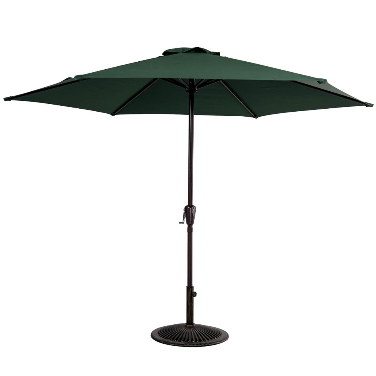 10FT Patio Umbrella Patio Market Steel With Crank Outdoor Yard Garden (Dark  Green)