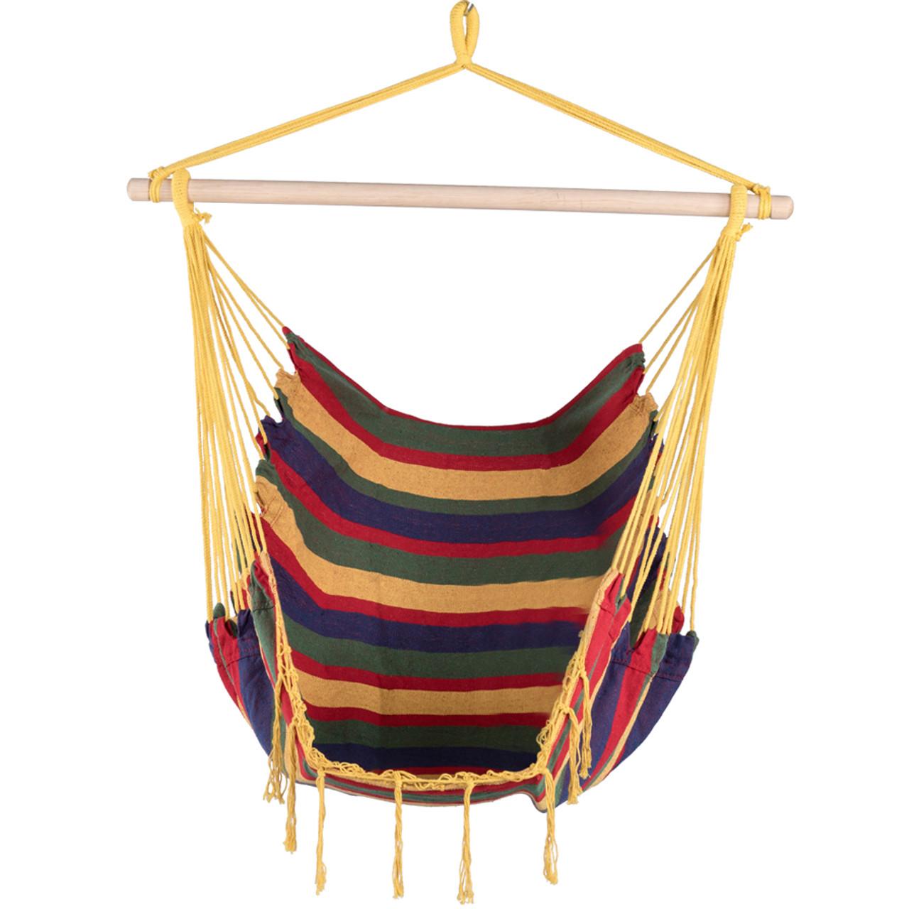 Lazy Daze Hammocks Canvas Hanging Hammock Swing Chair Seat With Wood  Spreader Bar (Tropical Stripe