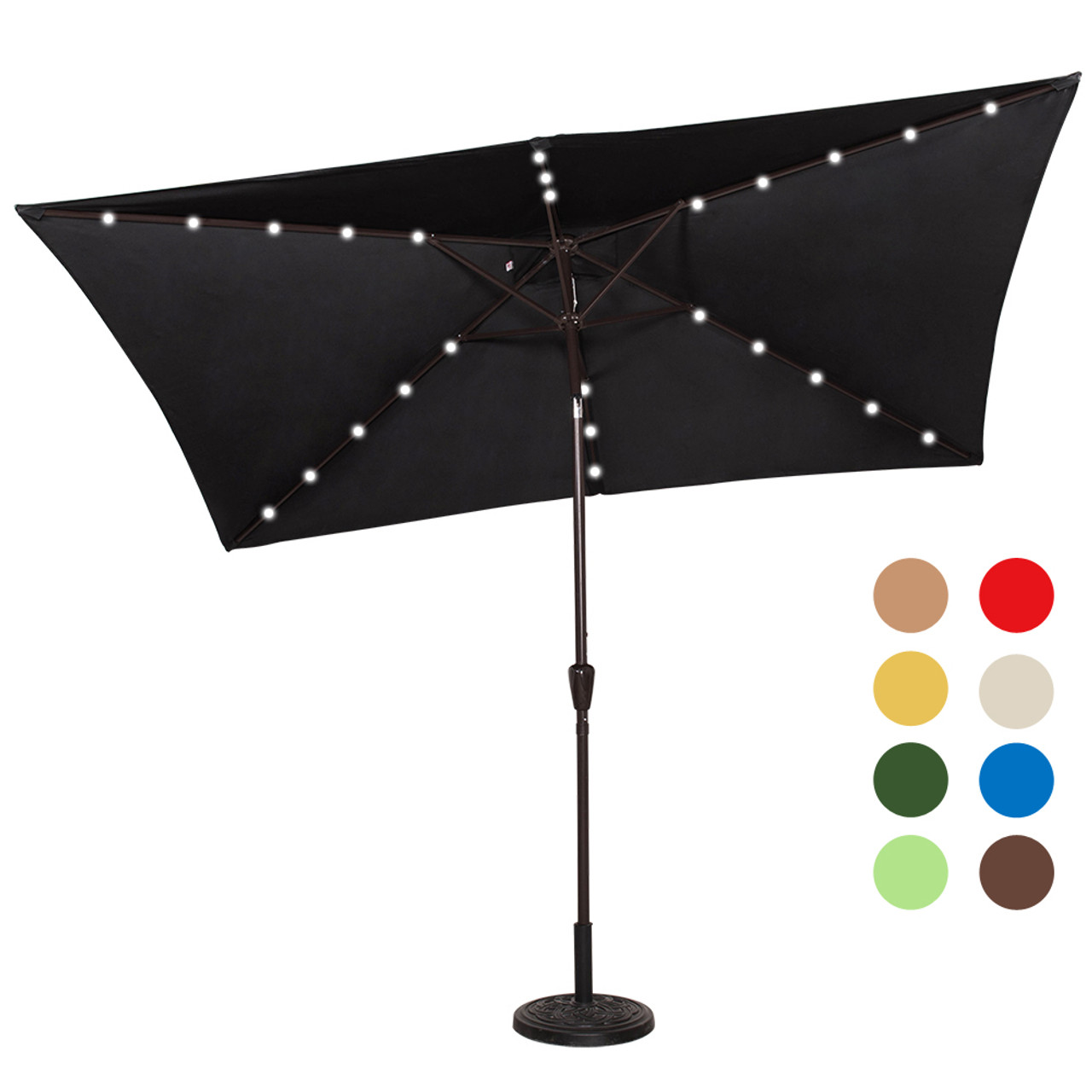 Rectangular Solar Powered 26 LED Lighted Outdoor Patio Umbrella With Crank  And Tilt, Aluminum, ...