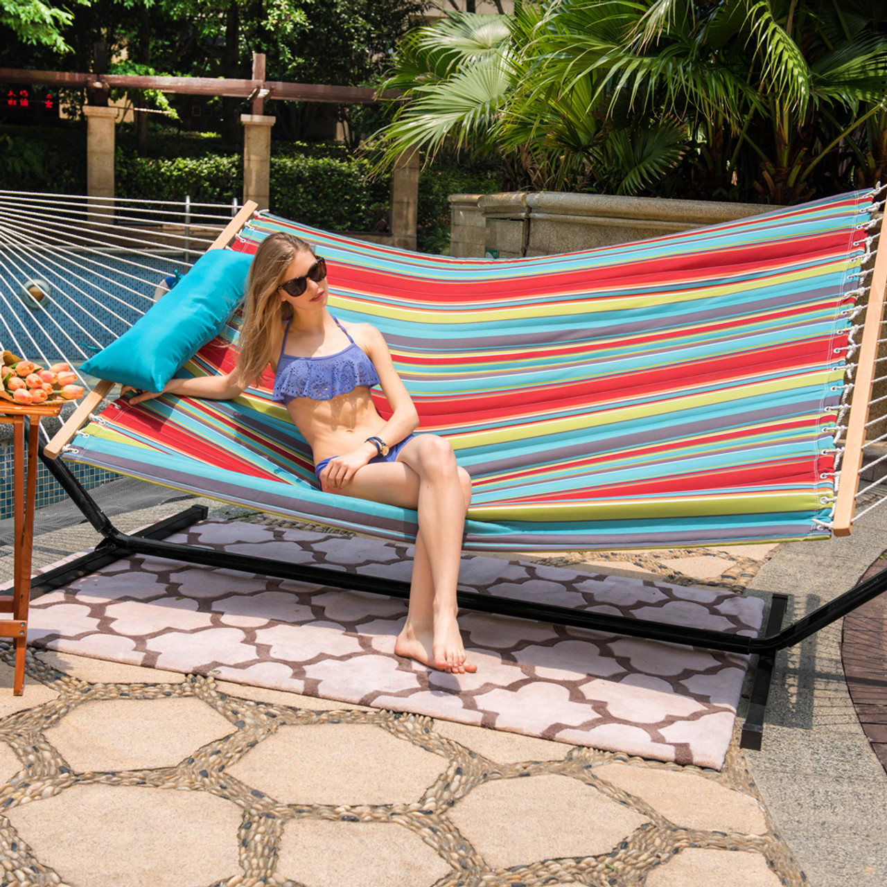 stand shade outsunny sun duty hammock dci arc designs double wooden with heavy canopy