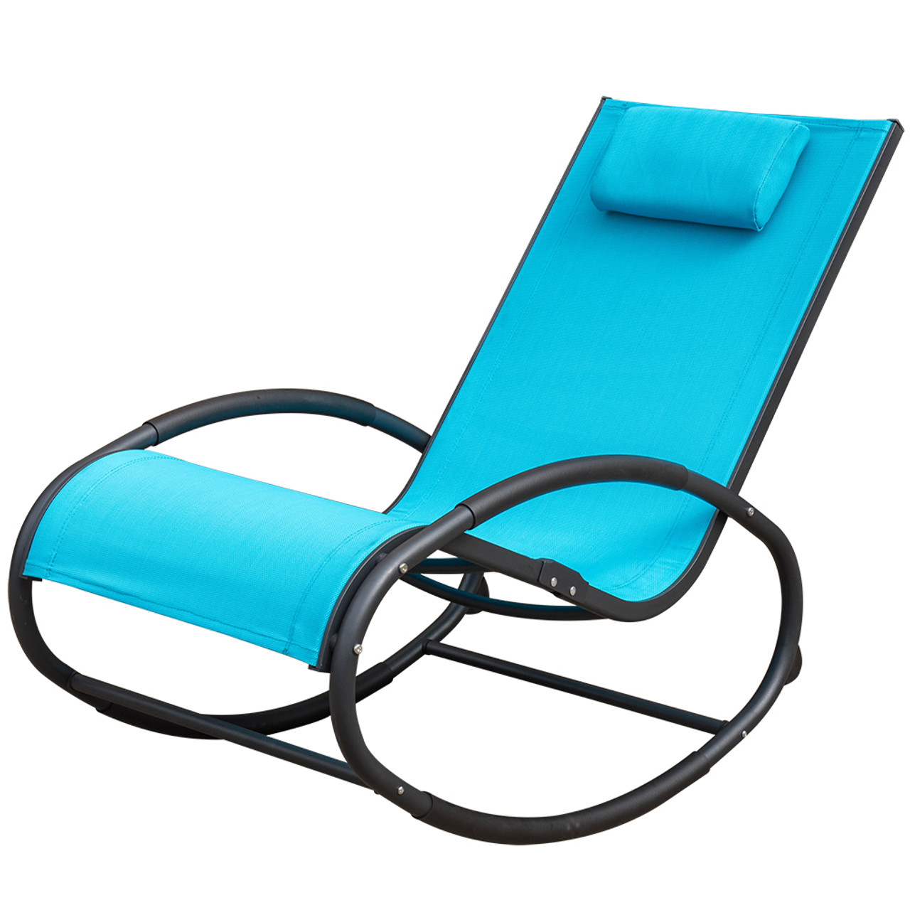 Attirant Patio Aluminum Zero Gravity Chair Orbital Rocking Lounge Chair With  Pillow,Capacity 250 Pounds,Blue
