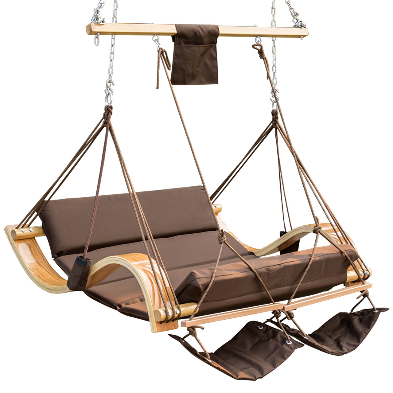 Marvelous Lazy Daze Hammocks Deluxe Oversized Double Hanging Rope Chair Cotton Padded  Swing Chair Wood Arc Hammock