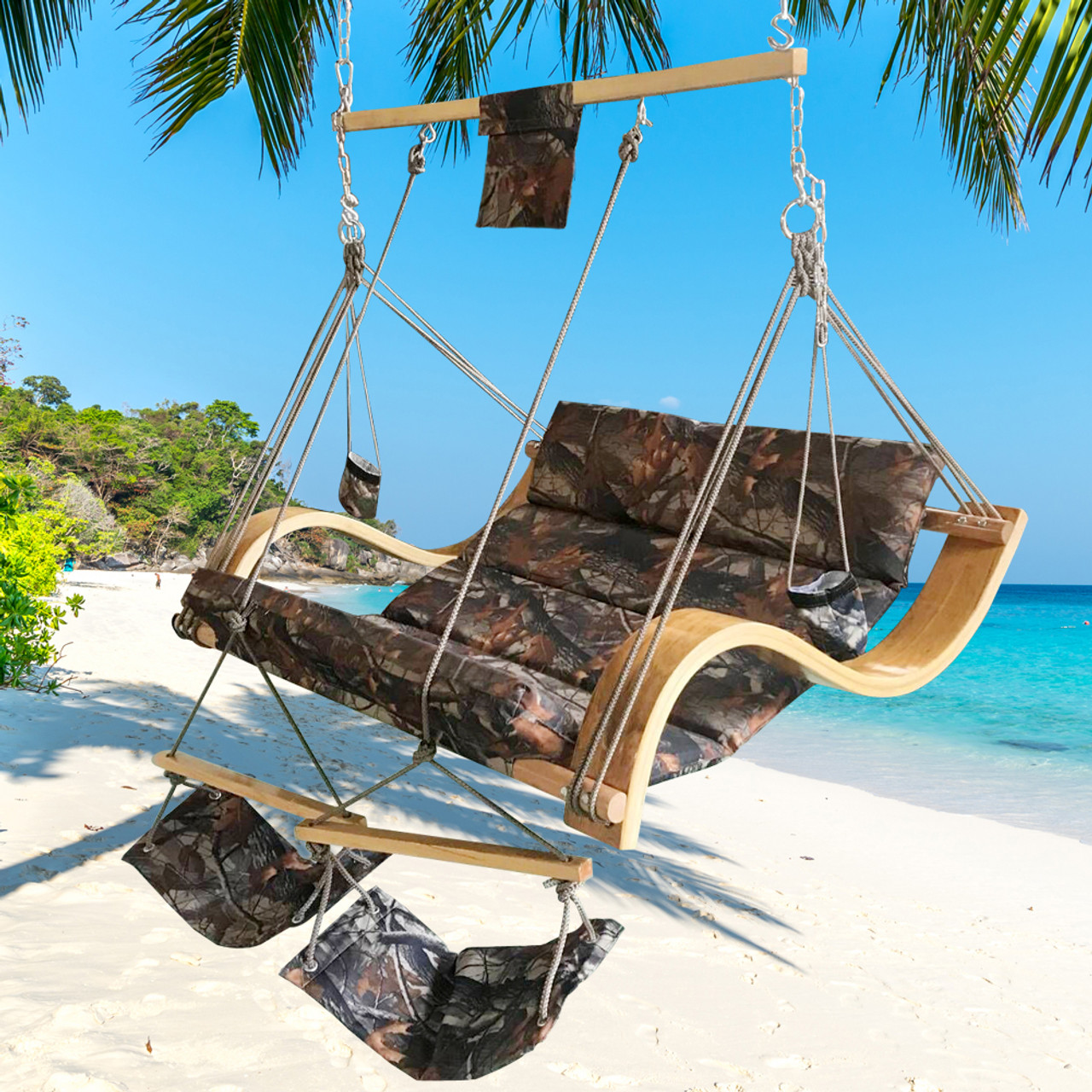 Wonderful Lazy Daze Hammocks Deluxe Oversized Double Hanging Rope Chair Cotton Padded  Swing Chair Wood Arc Hammock