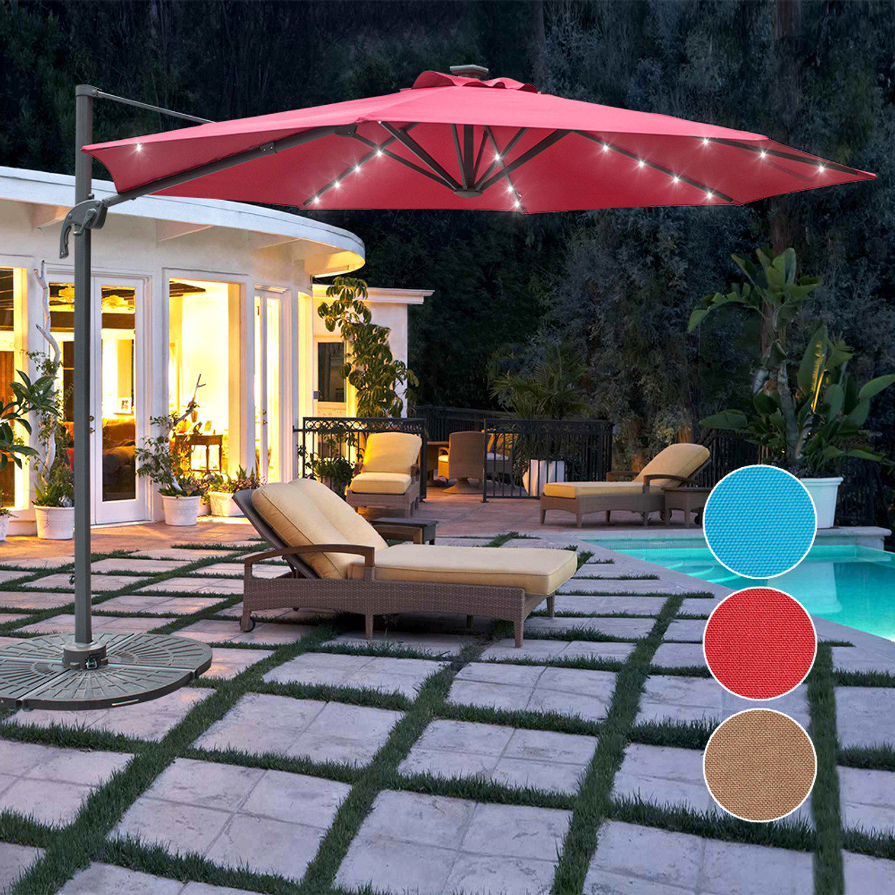 Genial Sundale Outdoor 10FT Solar Powered 28 LED Lighted Umbrella Hanging Roma  Offset Umbrella Outdoor Patio Sun