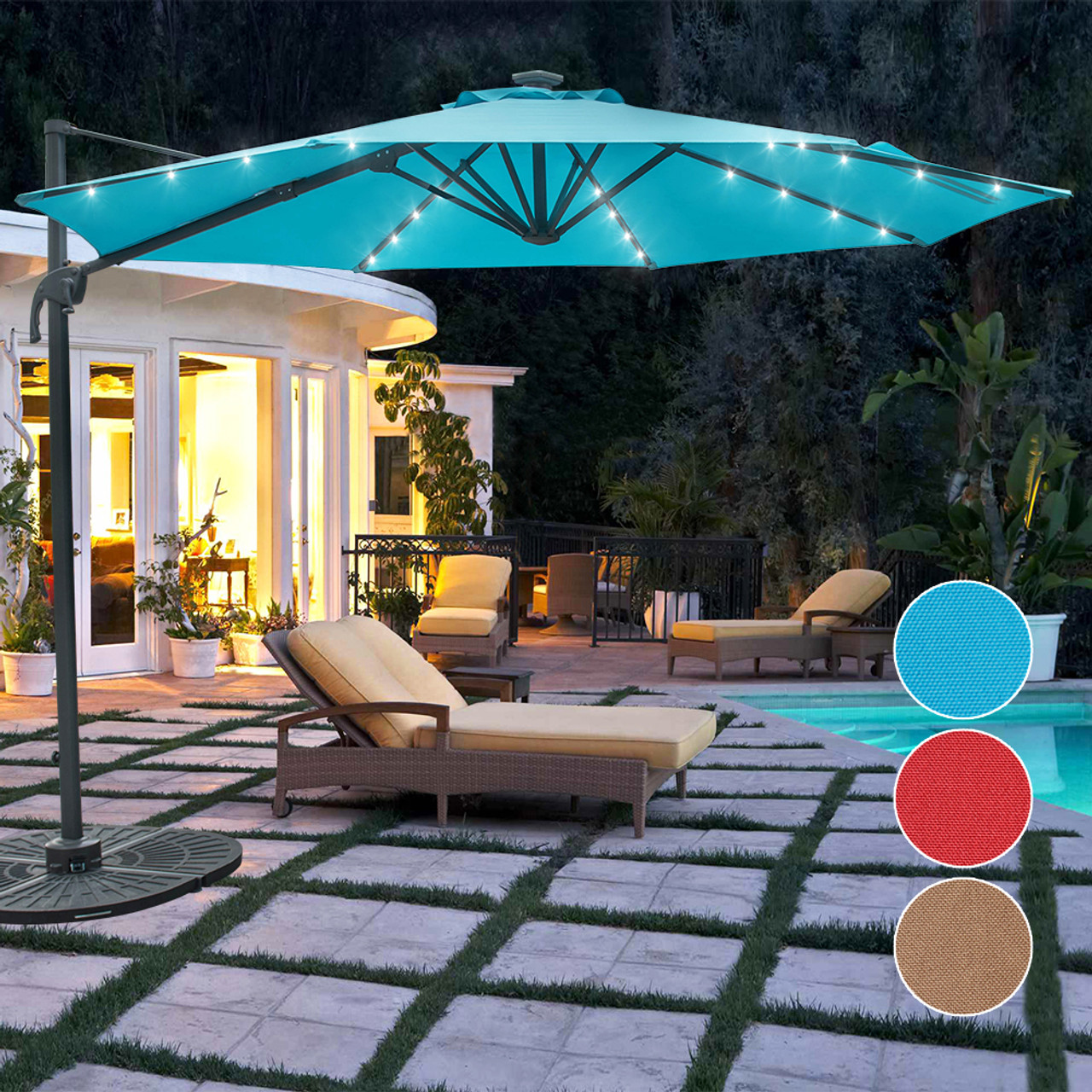 Sundale Outdoor 10FT Solar Powered 28 LED Lighted Umbrella Hanging Roma  Offset Umbrella Outdoor Patio Sun