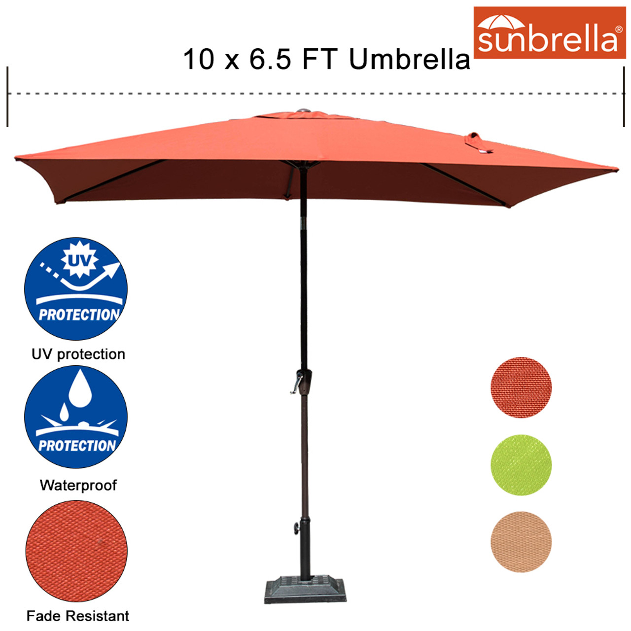 Sundale Outdoor 6.5 X 10 Ft Sunbrella® Canopy Rectangular Umbrella Patio  Garden Outdoor Aluminum Market