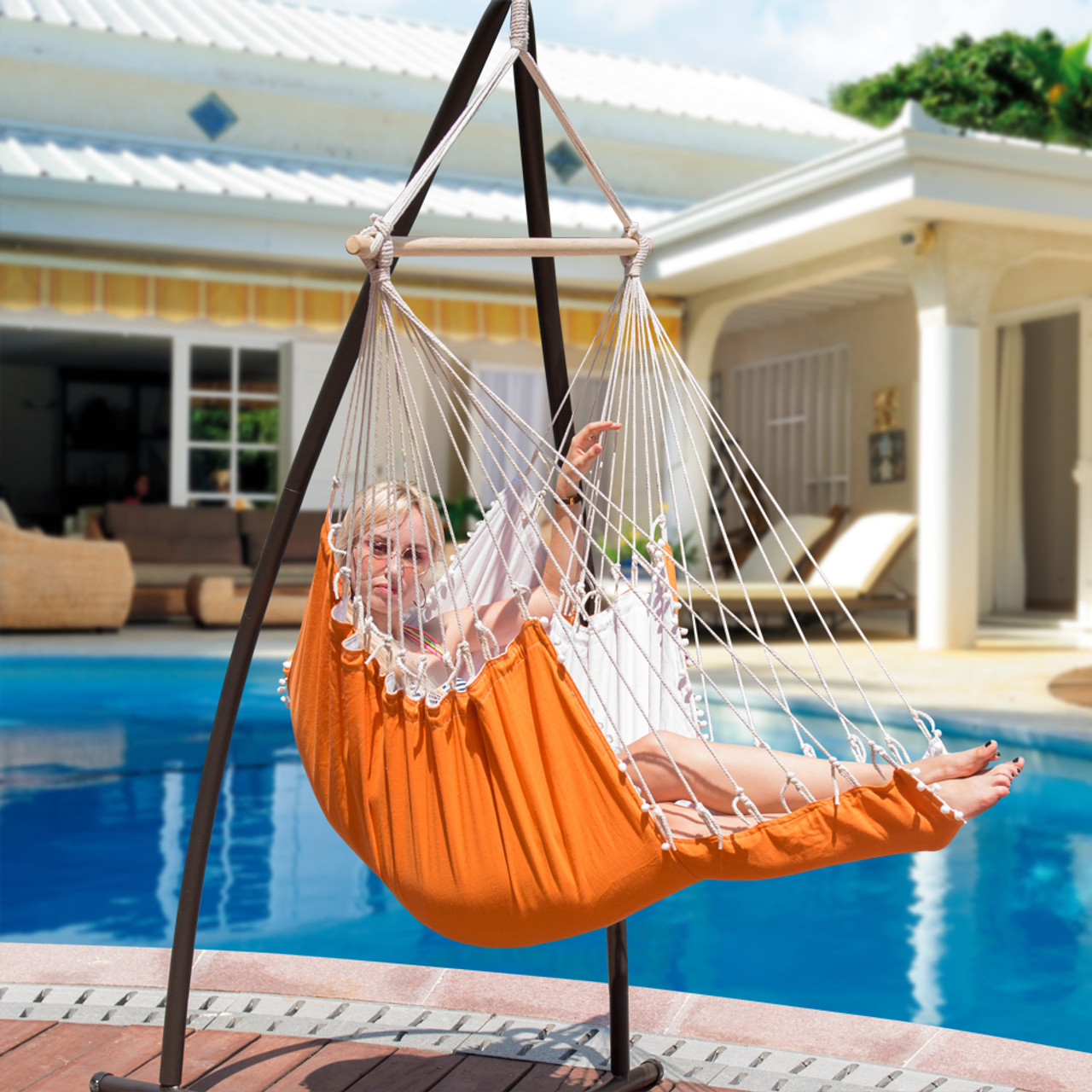 Hanging Air Chair with Pillow, Footrest, Drink Holder (Black)