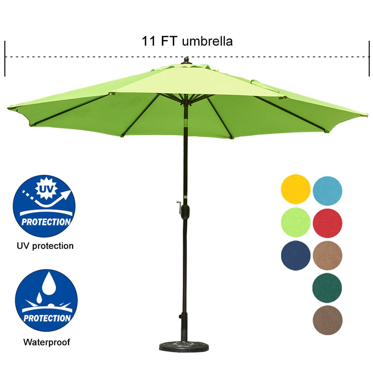 Sundale Outdoor 11 Ft Aluminum Patio Umbrella Table Market Umbrella With  Crank And Push Button Tilt