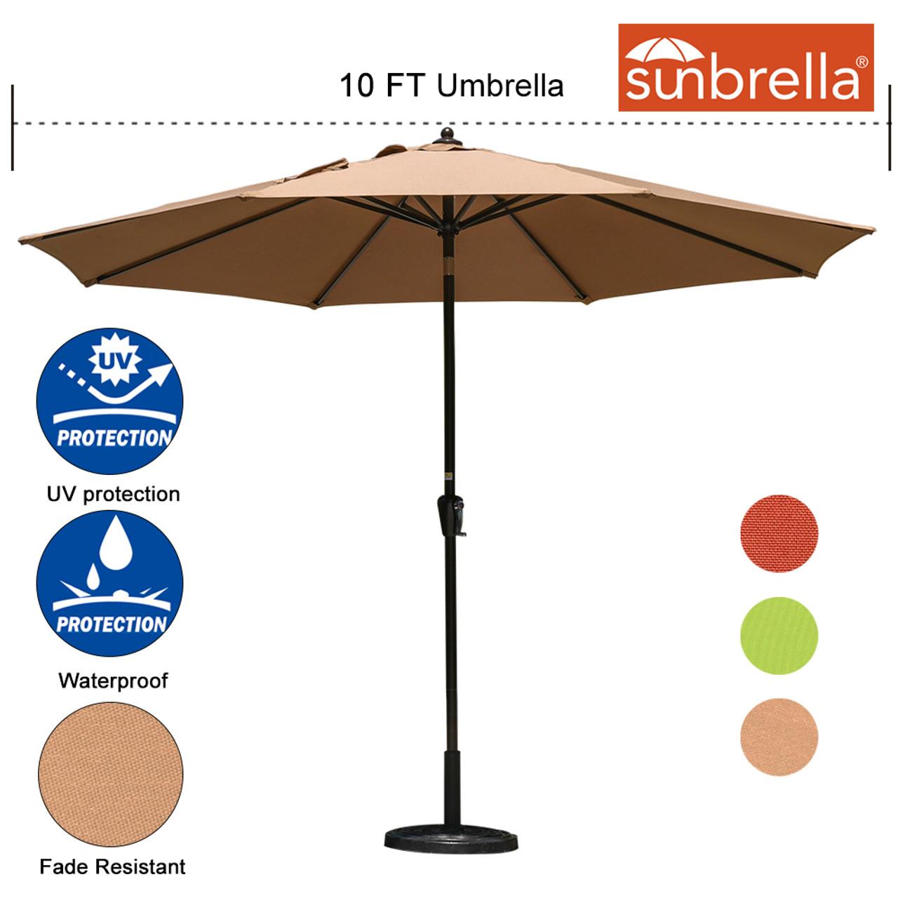Ordinaire Sundale Outdoor 10 Ft Sunbrella® Canopy Patio Market Umbrella Garden  Aluminum Umbrella With Crank And