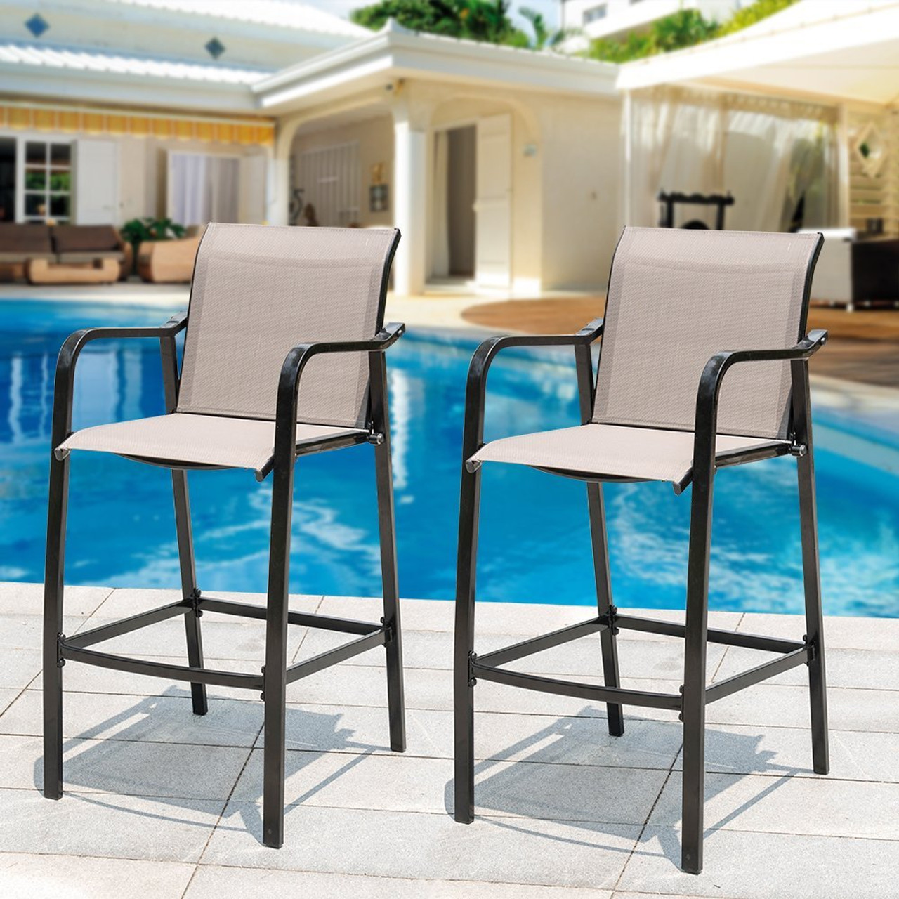 sundale outdoor counter height bar stool all weather patio furniture with quick dry textilene. Black Bedroom Furniture Sets. Home Design Ideas