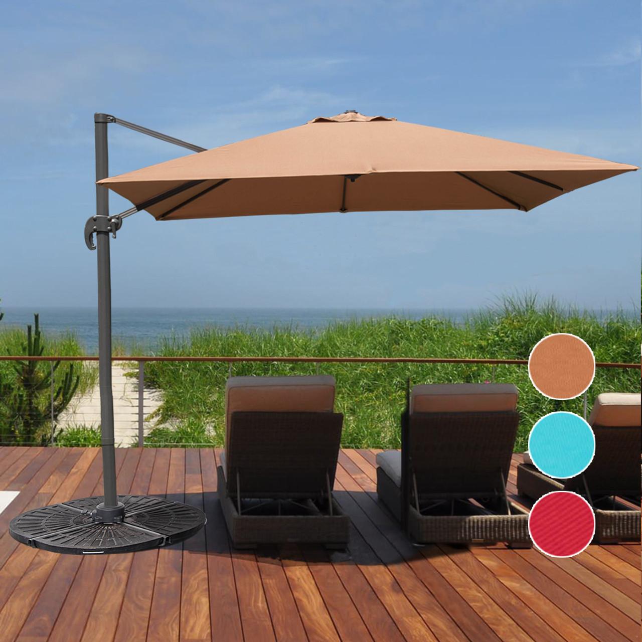 sundale outdoor 95ft square offset hanging umbrella market patio umbrella aluminum cantilever pole w - Patio Umbrella