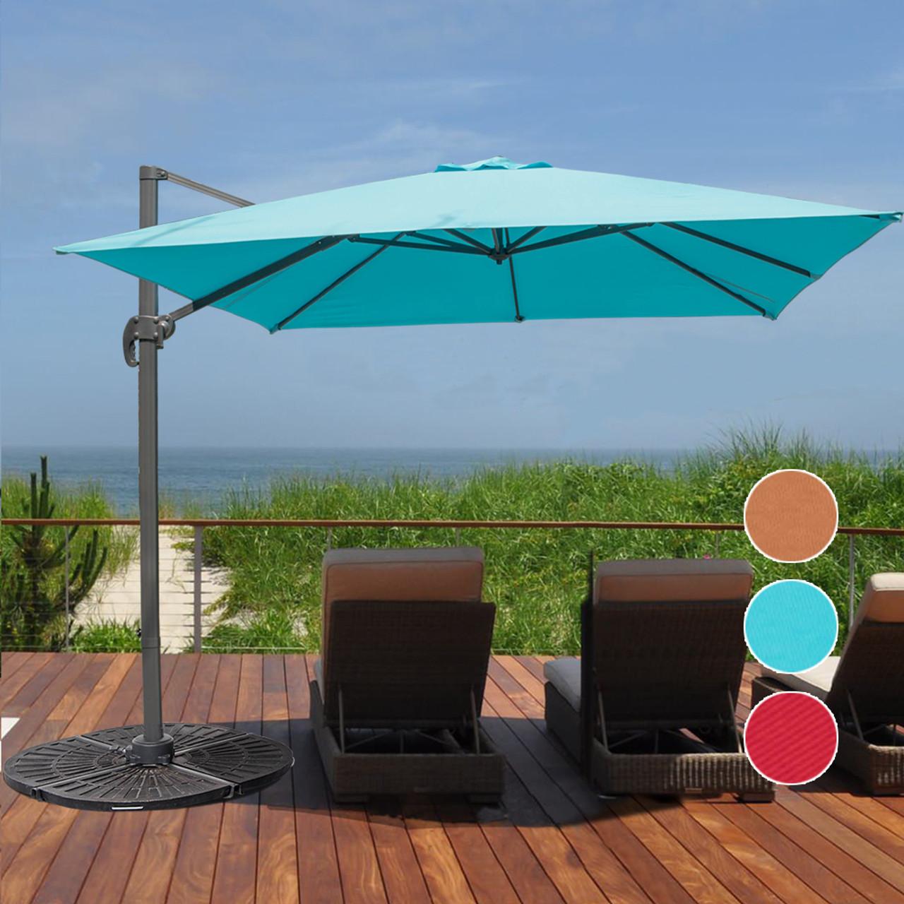 10 feet aluminum offset patio umbrella with crank(apple green) Backyard Umbrella