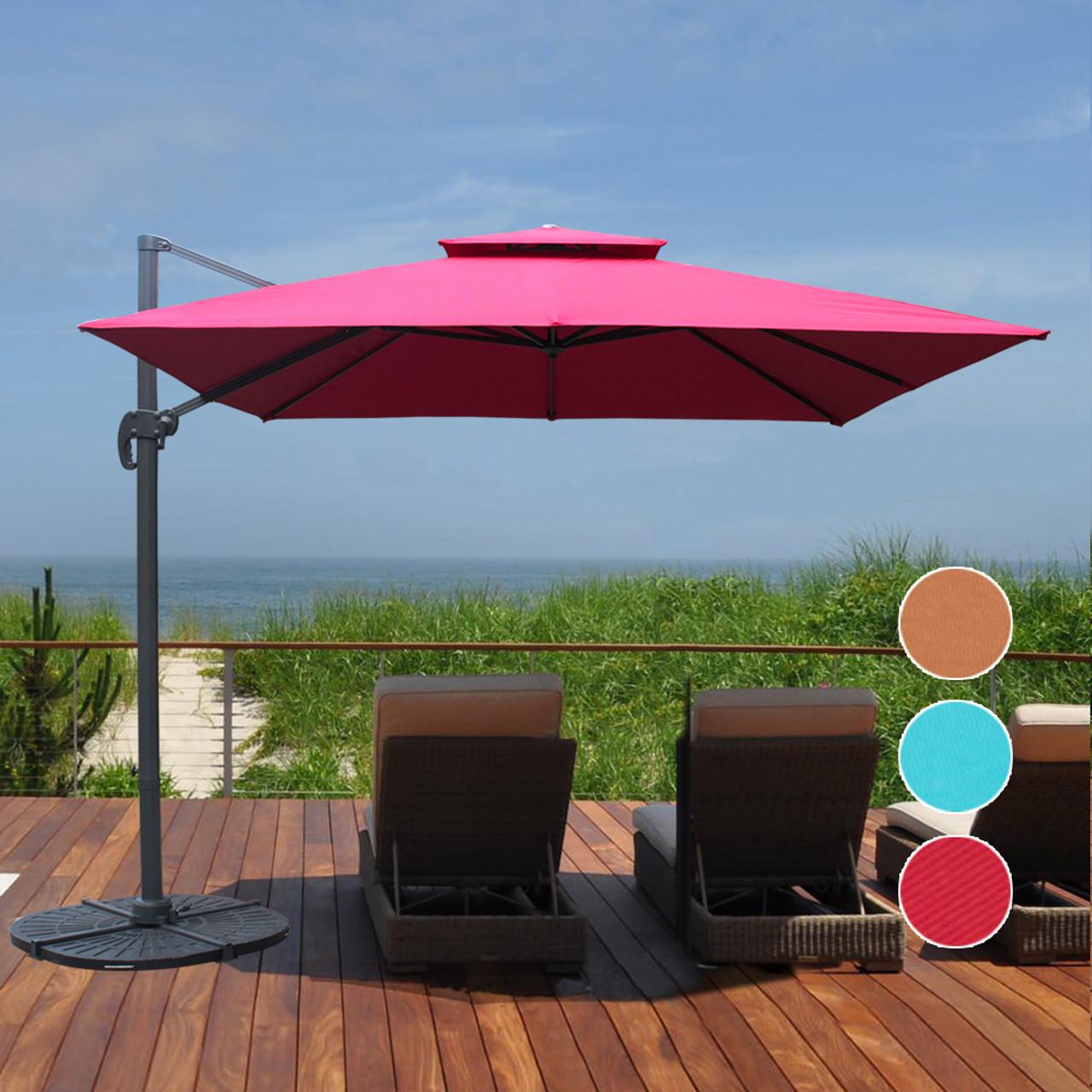 Sundale Outdoor 10ft Square Offset Hanging Umbrella Market Patio Umbrella  Aluminum Cantilever Pole W/Stylish