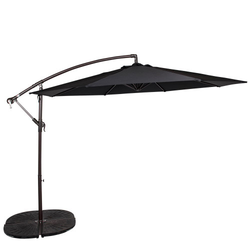 10 Feet Aluminum Offset Patio Umbrella(Black)