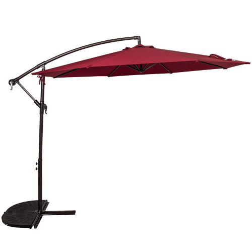 10 Feet Aluminum Offset Patio Umbrella(Burgundy)
