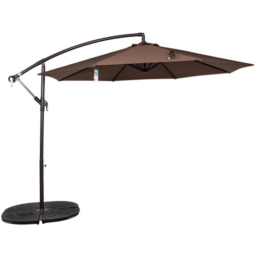 10 Feet Aluminum Offset Patio Umbrella(Chocolate)
