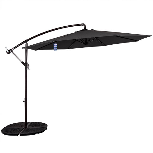 10 Feet Aluminum Offset Patio Umbrella(Grey)