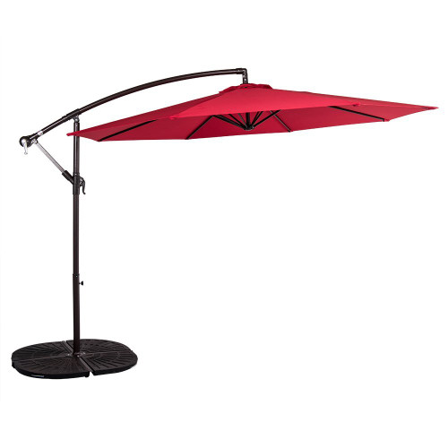 10 Feet Aluminum Offset Patio Umbrella(Red)