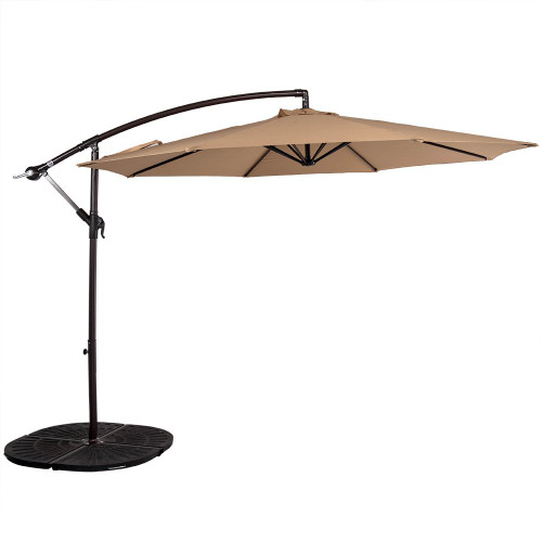 10 Feet Aluminum Offset Patio Umbrella(Tan)