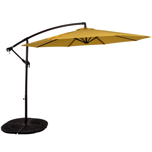 10 Feet Aluminum Offset Patio Umbrella(Yellow)