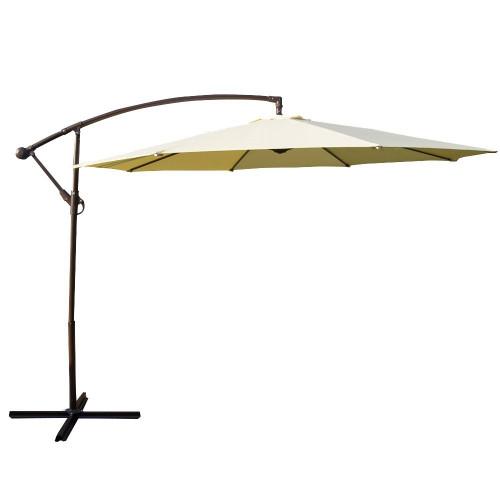 10 Feet Aluminum Offset Patio Umbrella(Light Yellow)