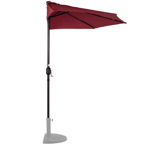 9 Feet Steel Half Patio Umbrella with Crank, 5 Steel Ribs, Red