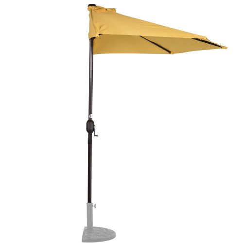 9 Feet Steel Half Patio Umbrella with Crank, 5 Steel Ribs (Yellow)