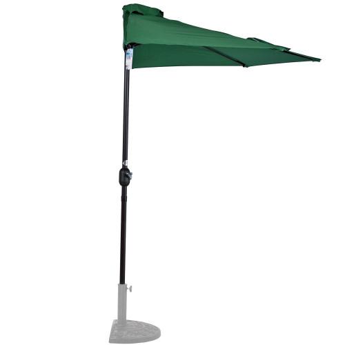 9 Feet Steel Half Patio Umbrella with Crank, 5 Steel Ribs (Dark Green)
