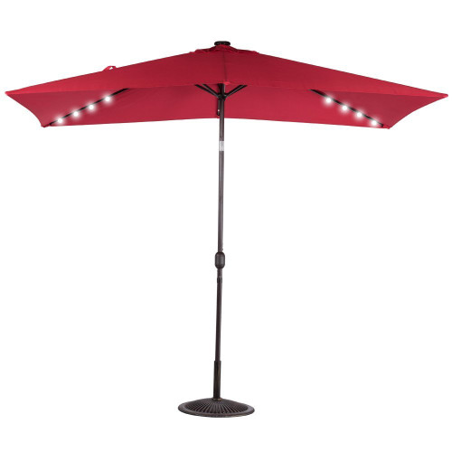 Rectangular Solar Powered 22 LED Lighted Outdoor Patio Umbrella(Red)