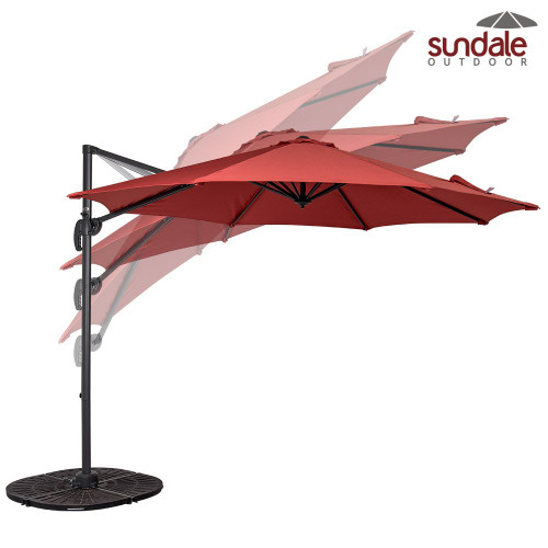 10ft Hanging Roma Offset Umbrella(Brick Red)