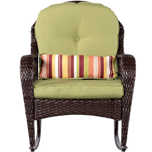 Wicker Rocking Chair All- Weather with Cushions