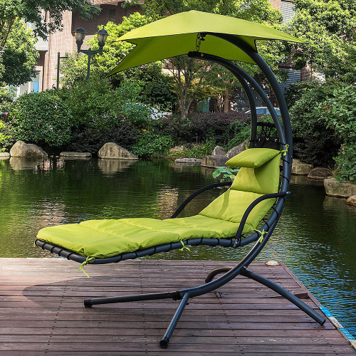 Lazy Daze Hammocks Dream Chair with Umbrella Hanging Chaise Lounge Chair Arc Curved Hammock (Apple Green)