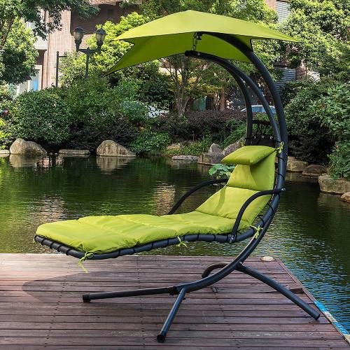 Lazy Daze Hammocks Dream Chair With Umbrella Hanging Chaise Lounge Chair  Arc Curved Hammock (Apple