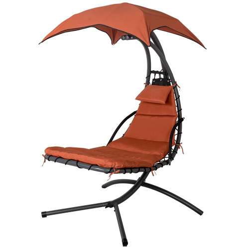 Lazy Daze Hammocks Dream Chair With Umbrella Hanging Chaise Lounge Chair  Arc Curved Hammock (Brick