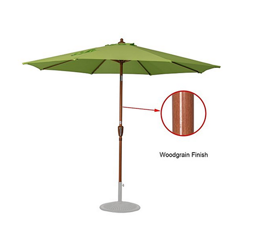 9 Feet Woodgrain Finish Patio Umbrella(Apple Green)