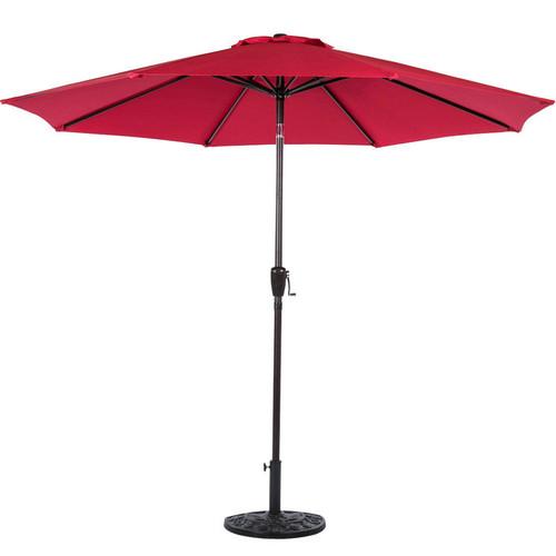 9FT Patio Garden Outdoor Market Umbrella with Crank (Brick Red)