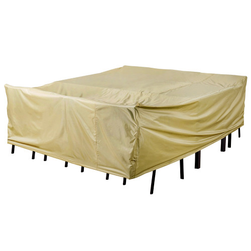 Patio Heavy Duty Stackable Chairs Cover with PVC Coating, fit up to 91L x 76W x 35H inches, Beige