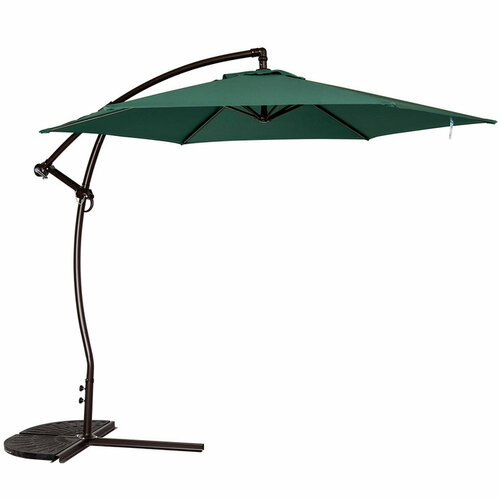 9 Feet Offset Umbrella with Hand Push(Dark Green)