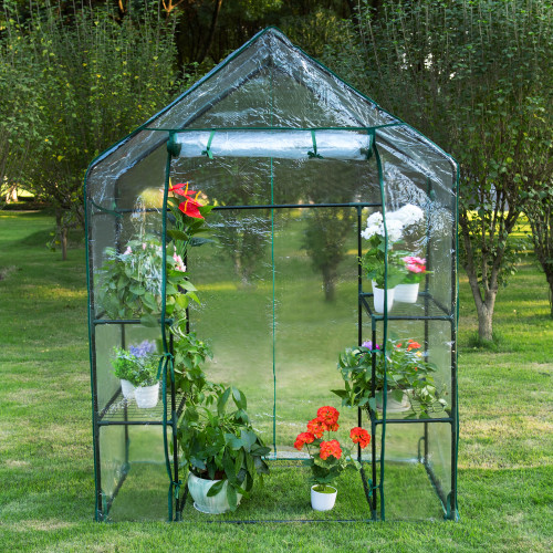 "6 Tier Steeple Greenhouse with PVC Cover, Hot Green House, 56.5""(L) x 29""(W) x 75.5""(H)"