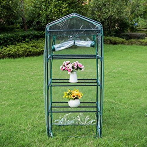 "Mini Green House with 4 Tier and PVC Cover, Waterproof Hot Green House, 27""(L) x 19""(W) x 63""(H)"